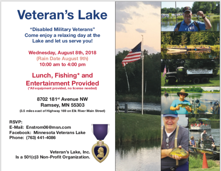 Veterans Lake - Wednesday August 3rd